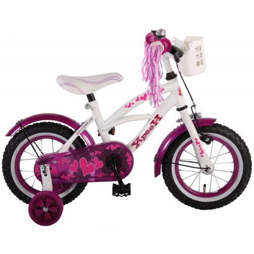 Volare Heart Cruiser Børnecykel - Piger - 12 tommer - Hvid lilla