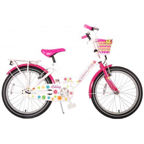 Volare Ashley Børnecykel - Piger - 20 tommer - Hvid / lyserød - to håndbremser