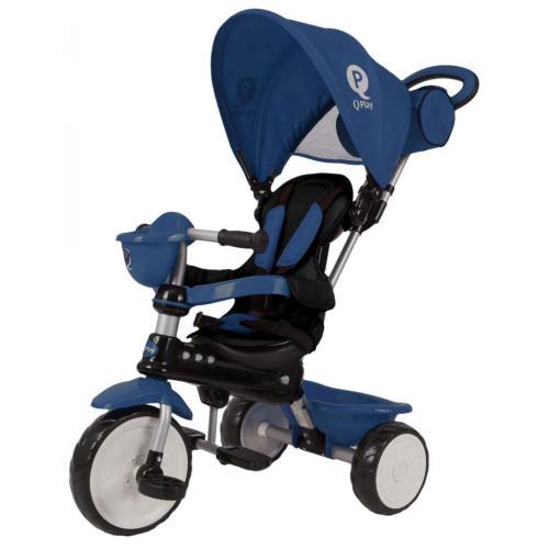QPlay Tricycle Comfort 4 in 1 - Drenge og piger - Mørkeblå