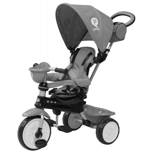 QPlay Tricycle Comfort 4 in 1 - Drenge og piger - Grå