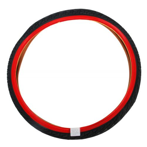 Cykeldæk 24 tommer sort rød