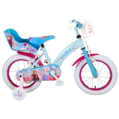 Disney Frozen 2 Børnecykel - Piger - 14 tommer - Blå / lilla - 2 håndbremser