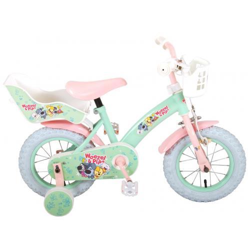 Woezel & Pip Børnecykel - Piger - 12 tommer - Mint / pink
