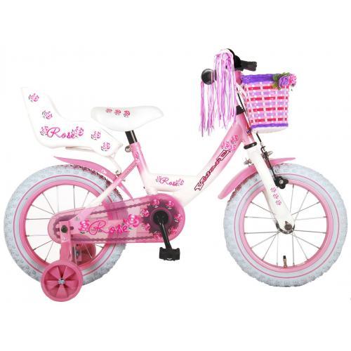 Volare Rose børns cykel - piger - 14 tommer - lyserød hvid - 95% samlet