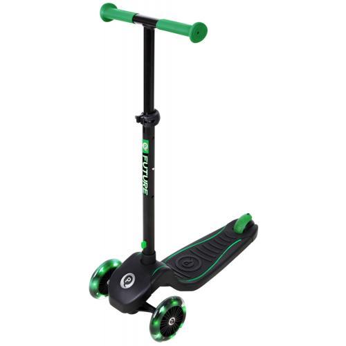 QPlay Future Scooter - Drenge og piger - Sort med grøn - LED-belysning