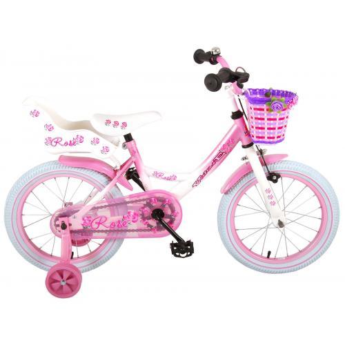 Volare Rose børns cykel - piger - 16 tommer - lyserød hvid - 95% samlet