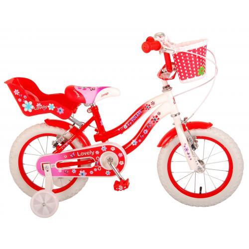 Volare Lovely børnecykel - piger - 14 tommer - rød - to håndbremser - 95% samlet