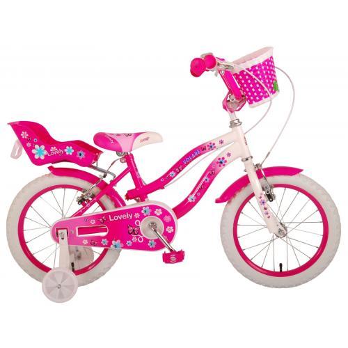 Volare Lovely børnecykel - piger - 16 tommer - lyserød hvid - to håndbremser - 95% samlet