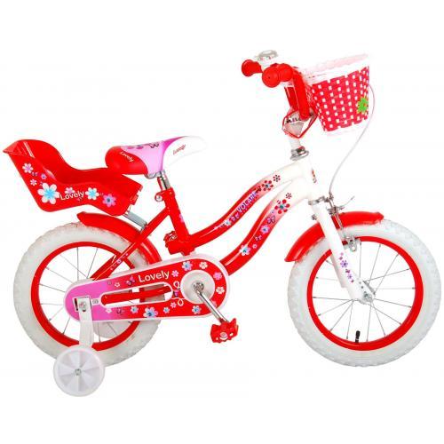 Volare Lovely børnecykel - piger - 14 tommer - rød - 95% samlet