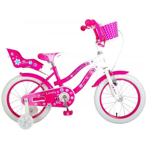 Volare Lovely børnecykel - piger - 16 tommer - lyserød hvid - 95% samlet