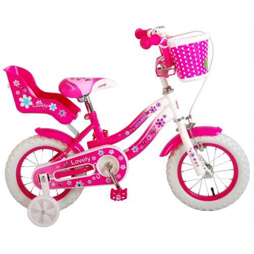 Volare Lovely børnecykel - piger - 12 tommer - lyserød hvid - 95% samlet