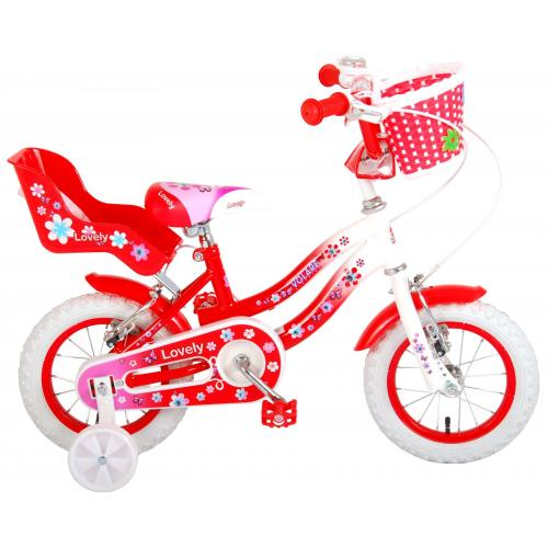 Volare Lovely børnecykel - piger - 12 tommer - rød - to håndbremser - 95% samlet