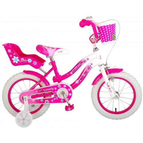 Volare Lovely børnecykel - piger - 14 tommer - lyserød hvid - 95% samlet