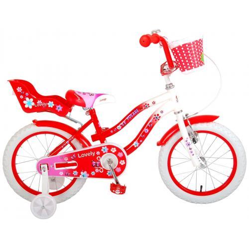 Volare Lovely børnecykel - piger - 16 tommer - rød - 95% samlet