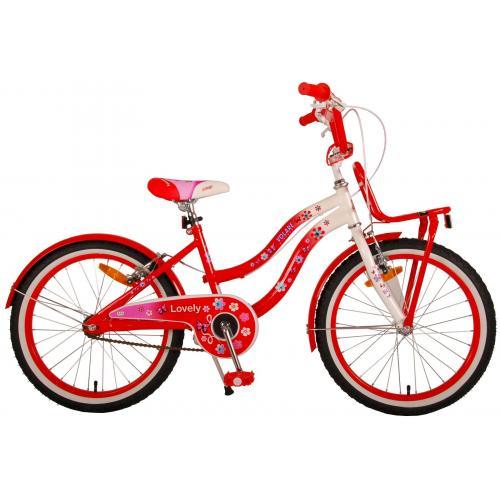 Volare dejlige børns cykel - piger - 20 tommer - rød hvid - to håndbremser - 95% samlet