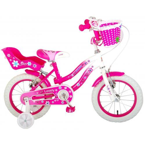 Volare Lovely børnecykel - piger - 14 tommer - lyserød hvid - to håndbremser - 95% samlet