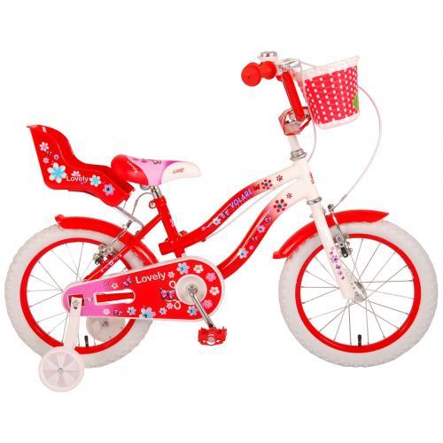 Volare Lovely børnecykel - piger - 16 tommer - rød - to håndbremser - 95% samlet