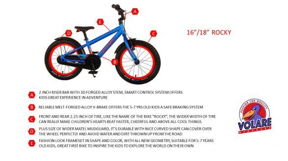 Volare Rocky Børnecykel - 16 tommer - Sort Blå - 95% samlet - Prime Collection