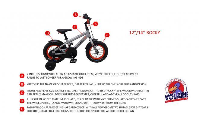 Volare Rocky Børnecykel - Drenge - 14 tommer - Sølv